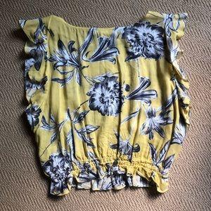 Yellow floral crop top
